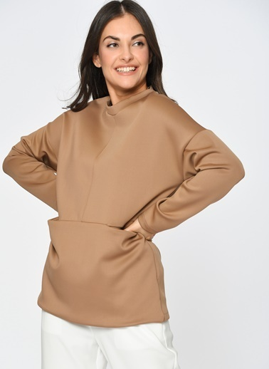 Loves You Cepli Loose Fit Scuba Sweatshirt Camel